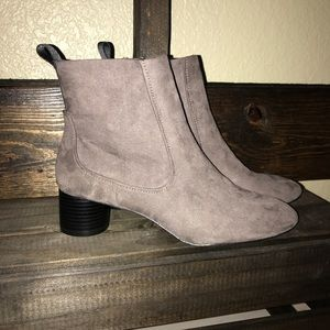 Zara Grey Faux Suede Booties NWT!